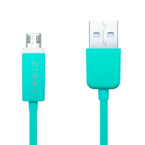 CREEV CABLE [MU-300L TURQUOISE] microUSB-USB 1M OD:3.5mm with LED, W006444,