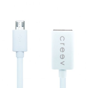 CREEV CABLE [OTG-17 WHITE] micro USB OTG adaptor 0.17M OD:3.5mm, W006460,