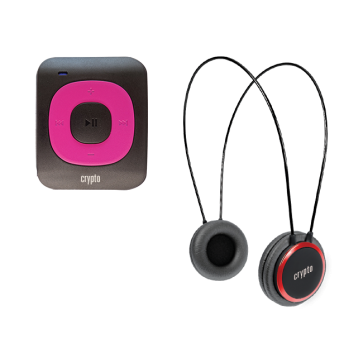 CRYPTO MP3 [MHP300P10] TRAVELLER BUNDLE MP300 PLUS 16GB FUCHSIA + HP100 RED, W015999, by CRYPTO