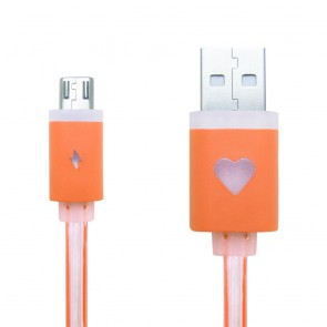 CREEV CABLE [MU-200L ORANGE] microUSB-USB 1M FLAT with LED, W006467,