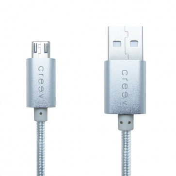 CREEV CABLE [MU-400M SILVER] microUSB-USB 1M OD:3.5mm METALLIC, W006446, by CRYPTO
