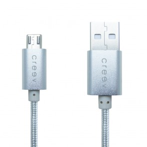 CREEV CABLE [MU-400M SILVER] microUSB-USB 1M OD:3.5mm METALLIC, W006446,