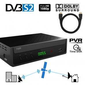 CRYPTO DVB-S2 RECEIVER [ReDi S100PH] H.264 FHD PVR Ready with Dolby and HDMI Cable 1m, W007180,
