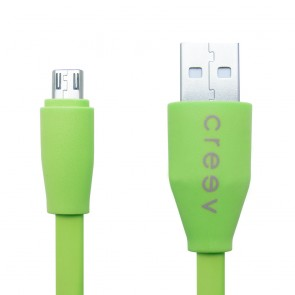 CREEV CABLE [MU-100F GREEN] microUSB-USB 1M FLAT, W006439,