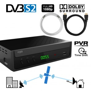 CRYPTO DVB-S2 RECEIVER [ReDi S100PCH] H.264 FHD PVR Ready with Dolby Coaxial 1,5m and HDMI Cable 1m, W007210,