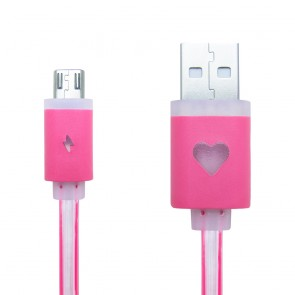 CREEV CABLE [MU-200L PINK] microUSB-USB 1M FLAT with LED, W006466,