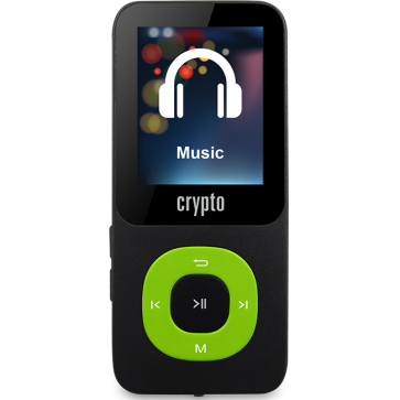 CRYPTO MP3 [MP1800 PLUS 32GB BLACK/GREEN], W015985, by CRYPTO