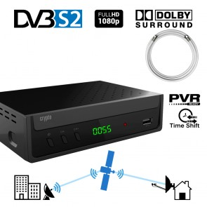 CRYPTO DVB-S2 RECEIVER [ReDi S100PC] H.264 FHD PVR Ready with Dolby and Coaxial Cable 1,5m, W007209,