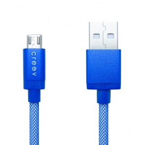 CREEV CABLE [MU-200 BLUE] microUSB-USB 1M OD:3.5mm plastic braided, W006441,