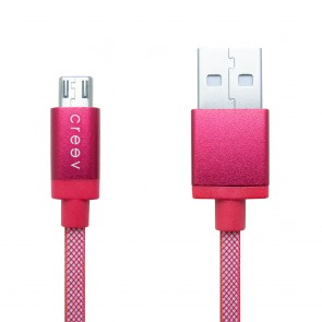 CREEV CABLE [MU-200 RED] microUSB-USB 1M OD:3.5mm plastic braided, W006440,