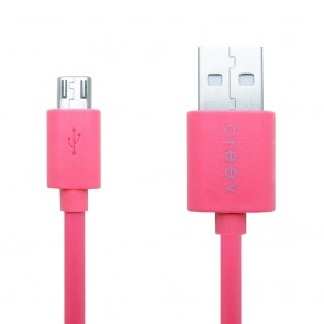 CREEV CABLE [MU-100 PINK] microUSB-USB 0.9M OD:3.5mm, W006434,