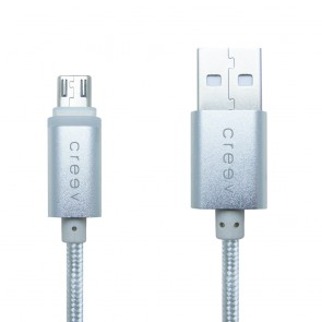 CREEV CABLE [MU-400ML SILVER] microUSB-USB 1M OD:3.5mm METALLIC with LED, W006448,